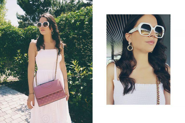 LUISAVIAROMA bolsos de tory burch, gafas de sol stella mccartney y pendientes de rosantica