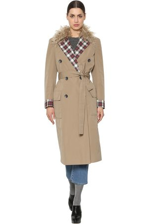 ISA ARFEN Canvas Trench Coat W/ Mohair & Plaid