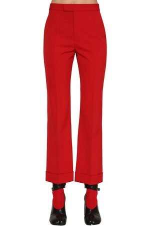 Maison Margiela   Mujer Pantalones Cropped De Mezcla De Lana 38
