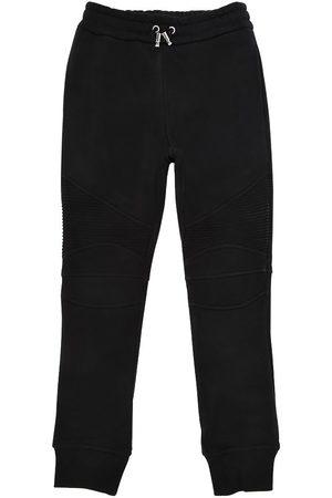 Balmain Pantalones Deportivos De Algodón Estilo Biker