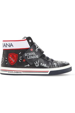 Dolce & Gabbana Sneakers Altos De Piel Estampado Graffiti