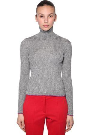 MARCO DE VINCENZO | Mujer Suéter Acanalado De Lurex Con Cuello Alto 38