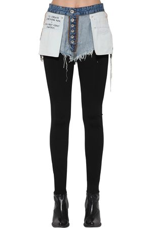 UNRAVEL Leggings De Viscosa Con Shorts De Denim