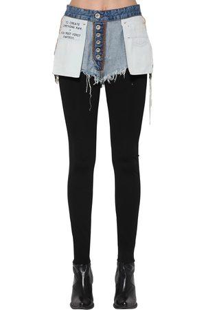 UNRAVEL | Mujer Leggings De Viscosa Con Shorts De Denim /azul 24
