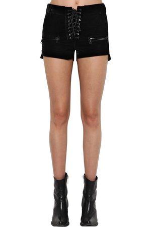 UNRAVEL Shorts De Terciopelo Con Cordones