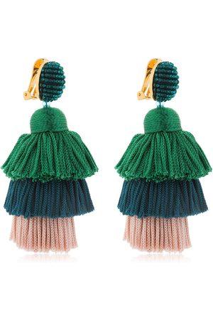 Oscar de la Renta | Mujer Pendientes De Clip Con Borlas De Seda /blue/pink Unique