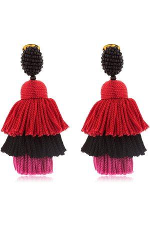 Oscar de la Renta | Mujer Pendientes De Clip Con Borlas De Seda /red/pink Unique