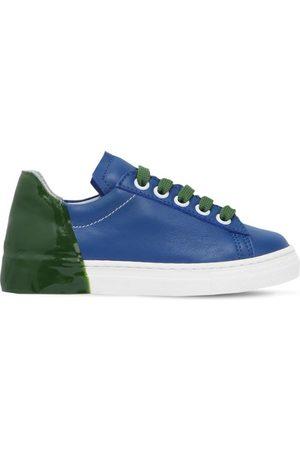 AM 66 Sneakers De Piel Bicolor Con Talón De Goma