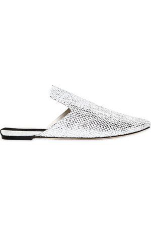 "Sanayi313 | Mujer Zapatos Mules ""bozza"" De Lona Metalizada 10mm 35"
