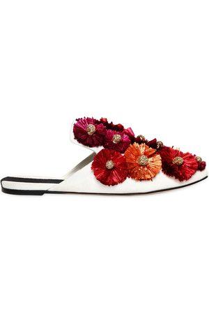 "Sanayi313 | Mujer Zapatos Mules ""flora"" De Lona Y Rafia 10mm /multi 36"