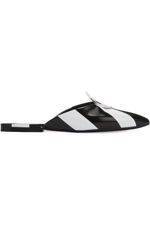 Proenza Schouler | Mujer Zapatos Mules A Rayas Con Anilla De Metal 10mm /blanco 36