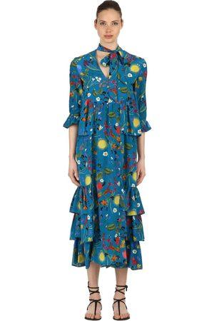 Borgo De Nor | Mujer Vestido De Crepé De Seda Estampado Surreal Garden 6