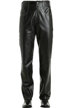 Vejas Pantalones De Piel Con Costuras En Contraste