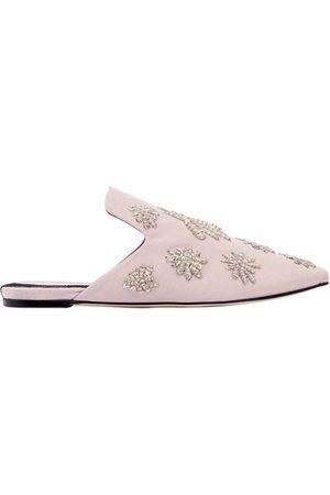 Sanayi313 | Mujer Zapatos Mules De Sarga Con Arañas Bordadas 10mm 37