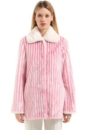 MARCO DE VINCENZO | Mujer Abrigo De Ecopiel A Rayas /rosa 38