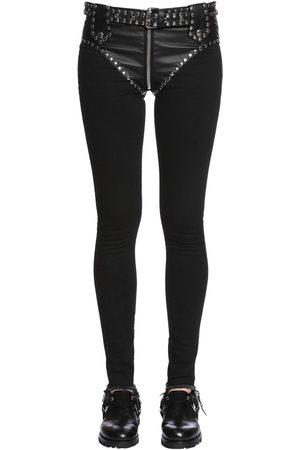 1017 ALYX 9SM | Mujer Jeans Slim De Denim Y Ecopiel Con Tachuelas 25