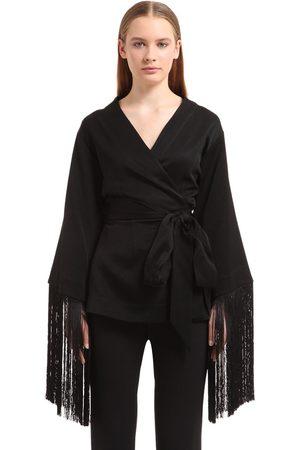 Ellery | Mujer Top Kimono De Crepé Con Flecos 8