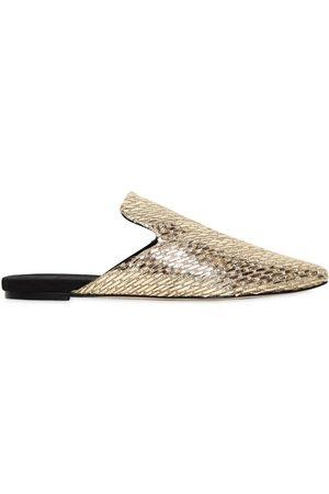 Sanayi313 | Mujer Zapatos Mules De Lona Y Rafia Metálica 10mm 37