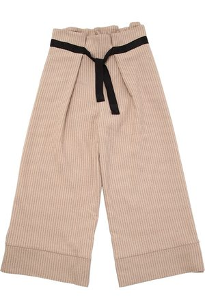Unlabel | Niña Pantalones Anchos De Lana A Rayas Con Cinturón 10a
