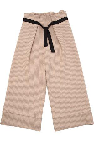 Unlabel Pantalones Anchos De Lana A Rayas Con Cinturón