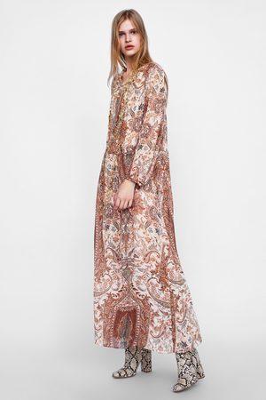 Midi Zara Vestido Estampado Zara Vestido qwBgP