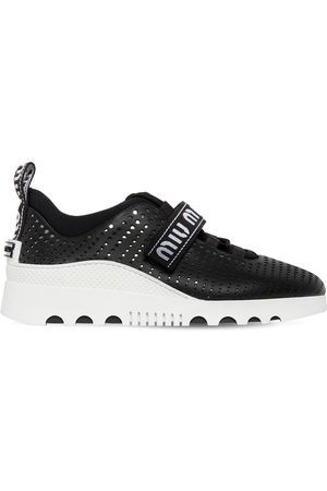 Miu Miu   Mujer Sneakers De Piel Perforada 30mm 35.5