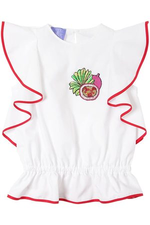 Stella Jean Cotton Poplin Top W/ Fruit Patch