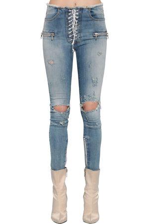 UNRAVEL | Mujer Jeans Skinny De Denim Stretch Con Cordones 26