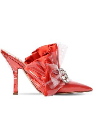 Midnight 00 Zapatos Mules De Satén Y Plexi 105mm