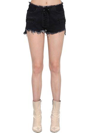 UNRAVEL Shorts De Denim De Algodón Con Cordones
