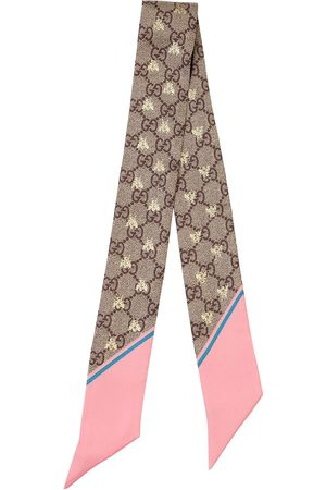 "Gucci | Mujer Foulard ""gg Supreme"" De Sarga De Seda /rosa Unique"