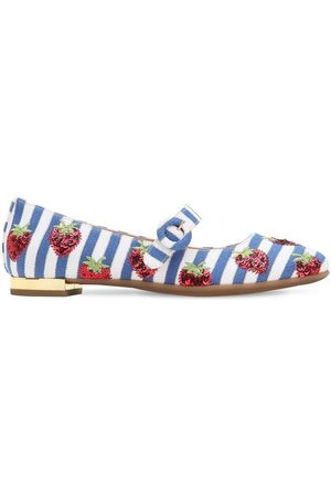 Aquazzura Embellished Canvas Ballerinas