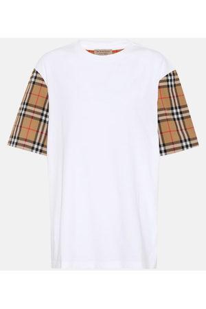 Burberry Camiseta de algodón con mangas de cuadros
