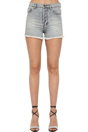 ALEXANDRE VAUTHIER | Mujer Shorts De Denim De Algodón Con Cristales 27
