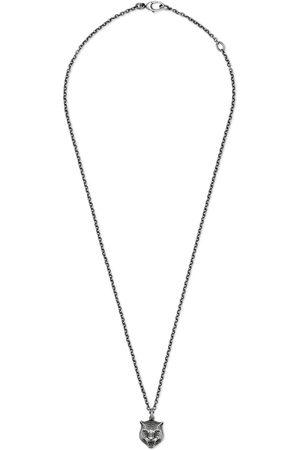 Gucci Collar de plata con cabeza felina