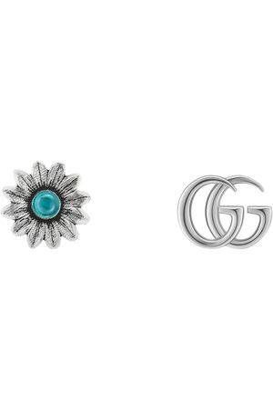 Gucci Pendientes de Botón con Flor y Doble G
