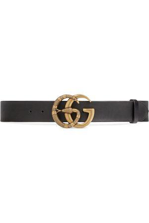 Gucci Cinturón de Piel con Hebilla de Doble G con Serpiente