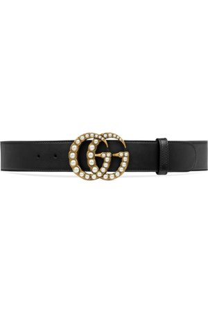Gucci Cinturón de Piel con Doble G de Perla