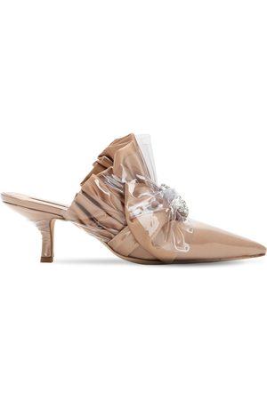 Midnight 00 Zapatos Mules De Satén Y Plexi 65mm