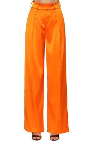 ALEXANDRE VAUTHIER Pantalones De Satén Stretch De Talle Alto