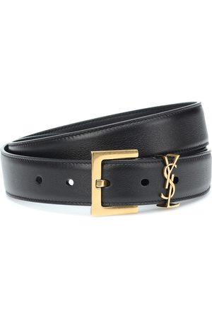 Saint Laurent Cinturón de piel con logo