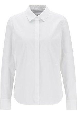 HUGO BOSS Blusa de corte regular fit en popelín de algodón elástico