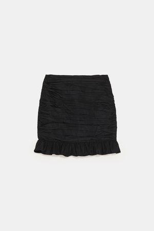 Zara Mujer Minifaldas - FALDA MINI DRAPEADO