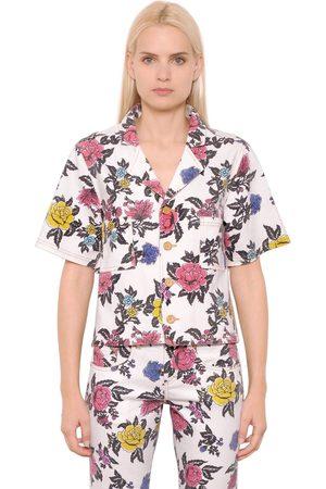 House of Holland Camisa De Denim De Algodón Estampado Rosas