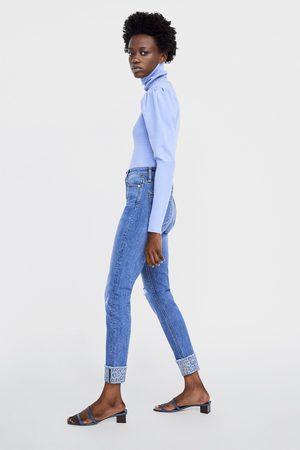 Zara Jeans z1975 high rise skinny bajo vuelta