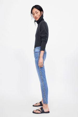 Zara Jeans z1975 skinny banda lateral brillos