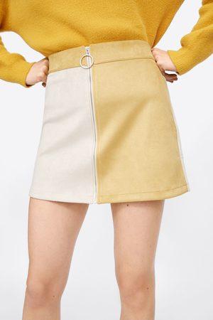 Zara Falda mini efecto ante color block