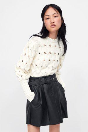 Zara Falda mini efecto piel cinturón
