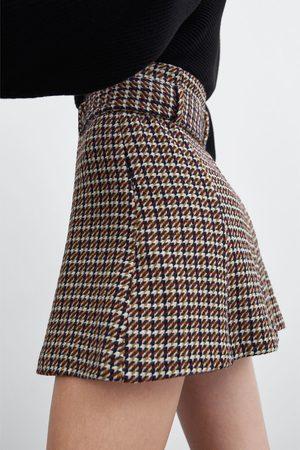 Zara Falda mini tweed cinturón