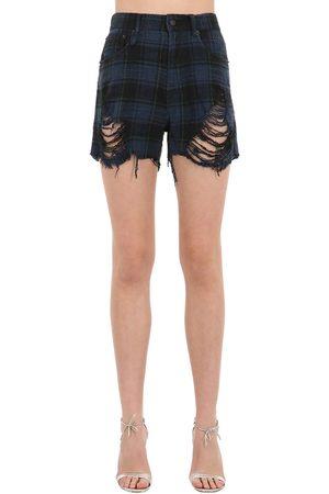 R13 Shorts De Denim De Algodón Desgastados